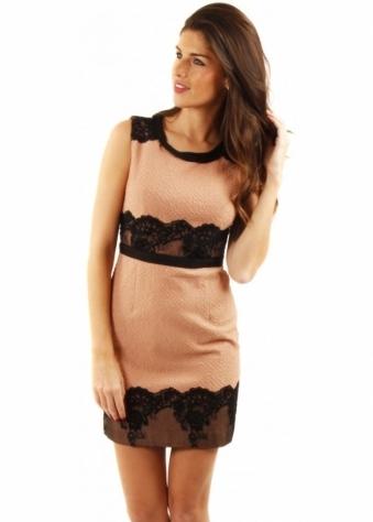 Naomi Tsukishima Pink & Black Lace Shift Dress