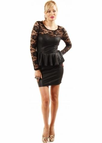 Lace Bodice Wet Look Stretch Peplum Mini Dress