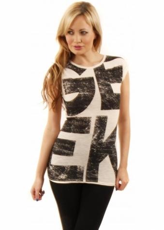 Designer Desirables Black & Cream GEEK Print Jersey T Shirt