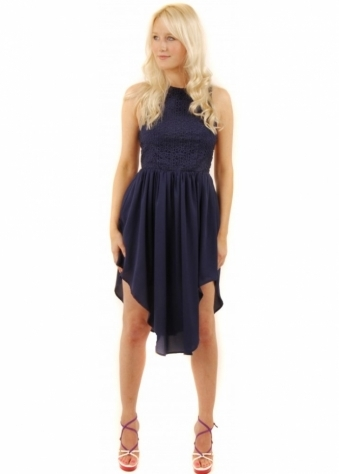 Simple Song Navy Lattice Back Mini Dress