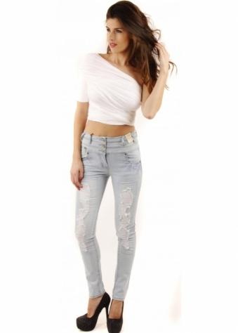 Parisian High Waisted Distressed Bleach Blue Jeans