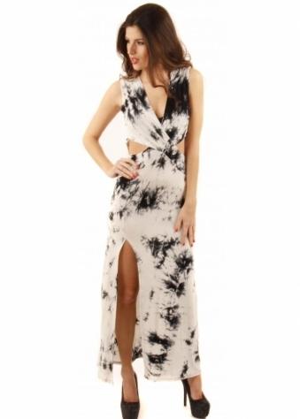 Parisian Tie Dye Open Side Jersey Maxi Dress