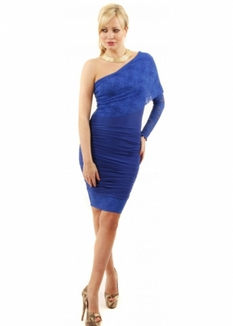 Lily Lace One Shoulder Ruched Bodycon Dress
