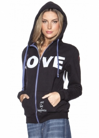 Peace Love World I Am Love L2L Black Fleece Hoodie Veeberry Ties