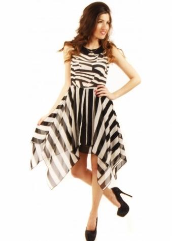 Stella Morgan Black & White Asymmetric Monochrome Dress