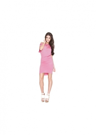 Quontum Rose Pink Hole T-Shirt Mini Dress