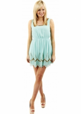 Cyan Intricate Beaded Detail Summer Dress