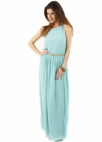 Aqua Maxi Dress With Tie Neck & Gold Belt
