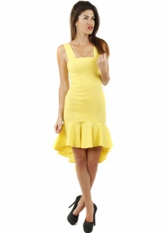 Quontum Yellow Fishtail Salsa Pencil Dress