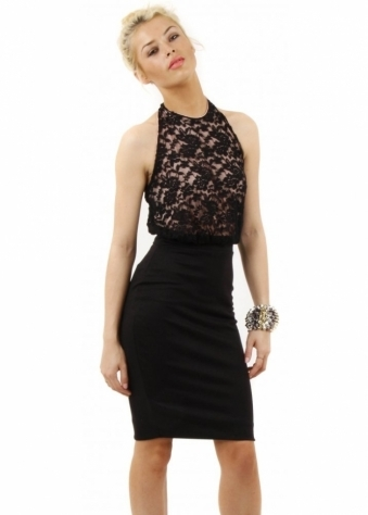 Sasha Black Lace Halter Neck Midi Dress