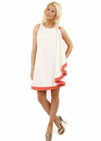 Hedonia Peach & Ivory Swing Contrast Dress