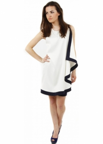Navy & Ivory Swing Contrast Dress