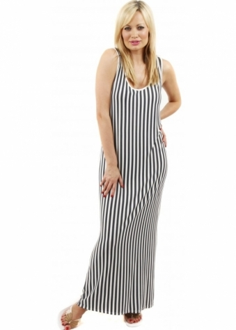 A Postcard From Brighton Rock Grove Stripe Alabaster Maxi Dress