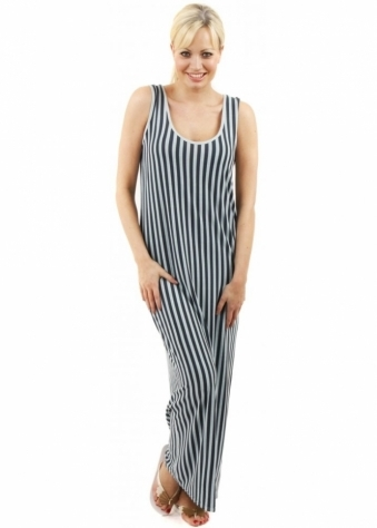 A Postcard From Brighton Rock Grove Stripe Smokey Jade Maxi Dress