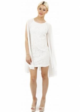 Naomi Tsukishima White Lace & Chiffon Split Sleeve Dress