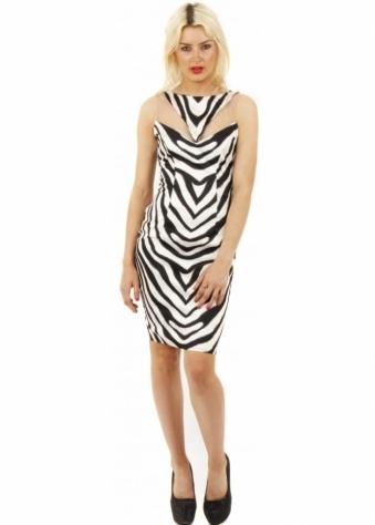 Goddess London Zebra Print Mesh Insert Bodycon Dress