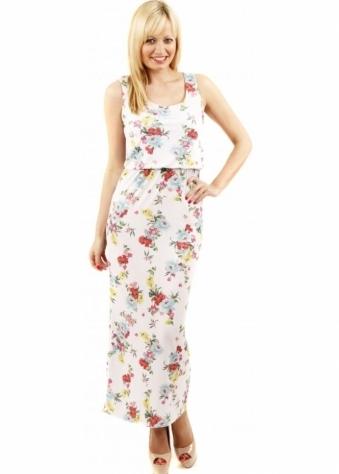 Designer Desirables Wild Flower Print Sleeveless White Maxi Dress
