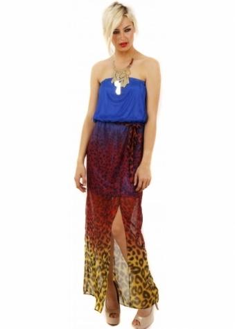 Stella Morgan Leopard Print Multi Colour Strapless Maxi Dress