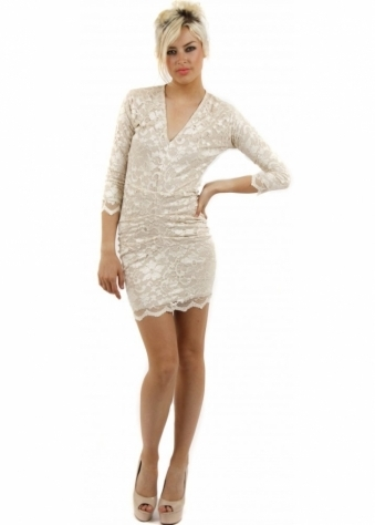 Honor Gold Lola Nude Lace Ruched Mini Dress