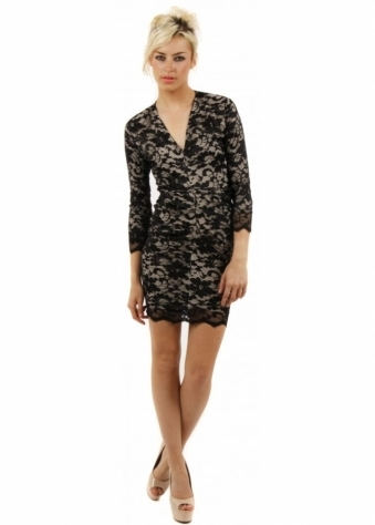 Honor Gold Lola Black Lace Ruched Mini Dress