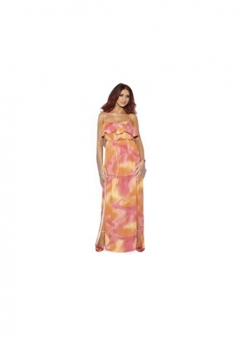 Rochelle Orange & Red Swirl Printed Frill Maxi Dress