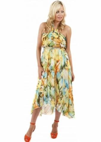 Stella Morgan Feather Print Belted Chiffon Midi Dress
