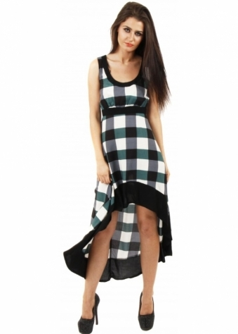 Green Check Lattice Back Dip Hem Dress