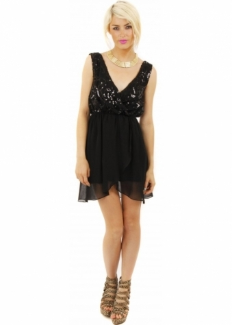 Black Sequinned Kimono Tiered Mini Dress