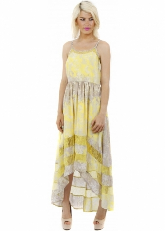 Goddess London Yellow Floral Print Lace Insert Strappy Maxi Dress