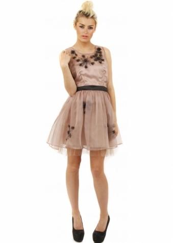Flower Trim Nude Pink Chiffon Prom Dress