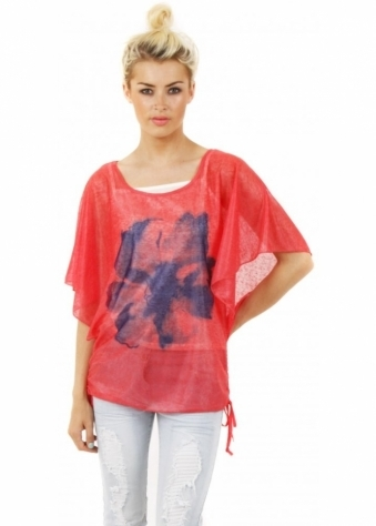 Stella Morgan Coral Pink Single Flower Batwing Tie Side Top