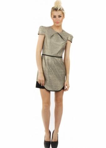 Eclipse Gold Lurex Cap Sleeve Mini Dress