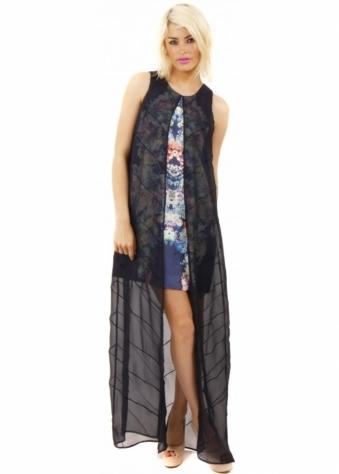 Finders Keepers Blue Chiffon Mini Maxi Final Goodbye Dress