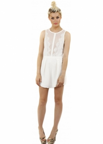 Finders Keepers Ivory Firehouse Playsuit With Sheer Lace Panels