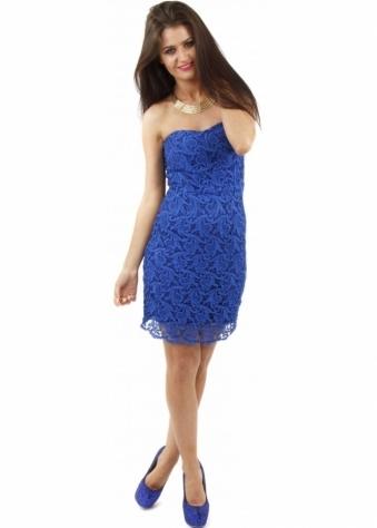 Blue Crochet Lace Bandeau Dress