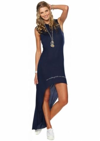 Peace Love World I Am Hooked On Love Navy Sleeveless Metro Hooded Hilo Dress