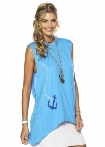 Peace Love World I Am Hooked On Love Sea Blue Muscle Tee