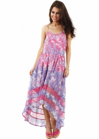 Goddess London Pink Floral Print Lace Insert Strappy Maxi Dress