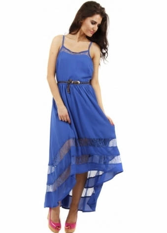 Goddess London Cobalt Blue Lace Insert Strappy Belted Maxi Dress