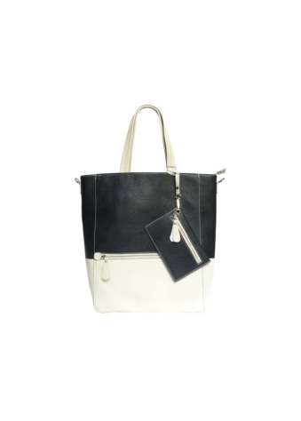 DSUK Butter Soft Cream & Black Casey Tote Bag