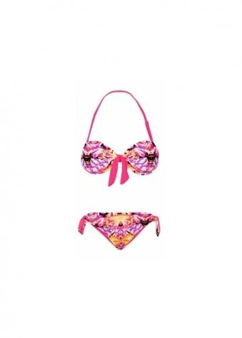 Kaleidoscope Tie front Bandeau Bikini