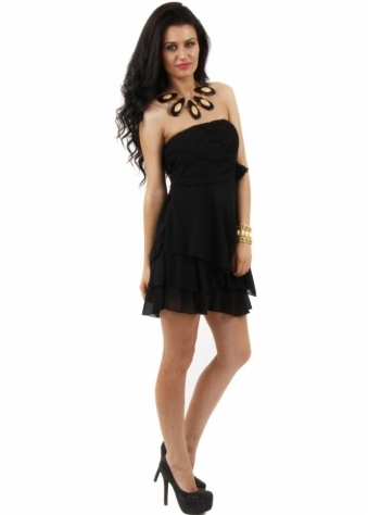 Black Sheer Lace Back Tiered Chiffon Bandeau Mini Dress