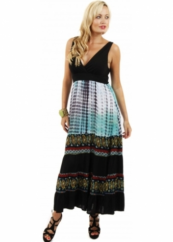 Stella Morgan Turquoise Print Low Cut Boho Tribal Maxi Dress
