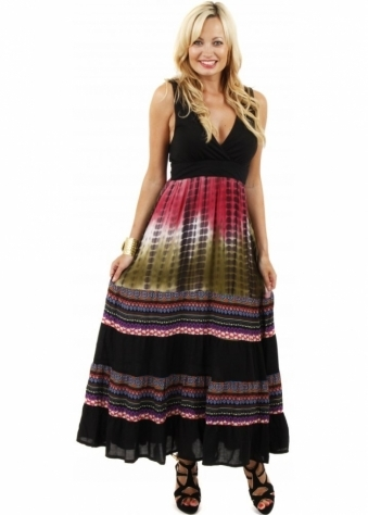 Stella Morgan Pink Print Low Cut Boho Tribal Maxi Dress