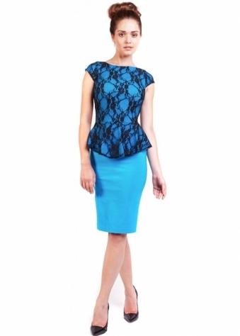 Vesper Sarah Pencil Dress With Black Lace Overlay & Peplum