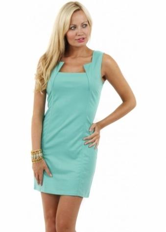Stella Morgan Cut Out Neckline Green Jersey Mini Dress