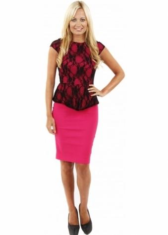 Vesper Sarah Pink Pencil Dress With Black Lace Overlay & Peplum