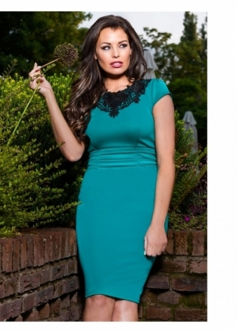 Jessica Wright Ellie Green & Black Lace Detail Pencil Dress