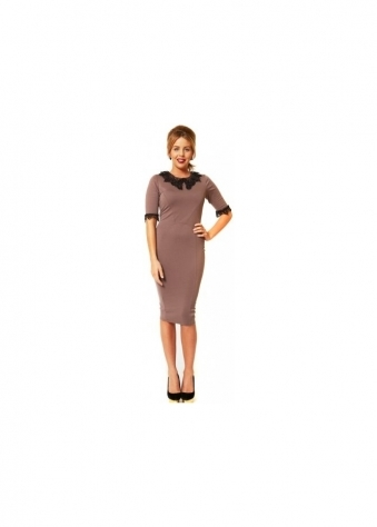 Alexa Grey Lace Collar & Sleeve Pencil Dress