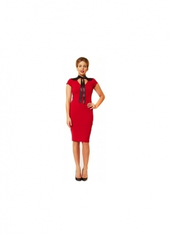 Effie Red Lace Back Neck Tie Pencil Dress